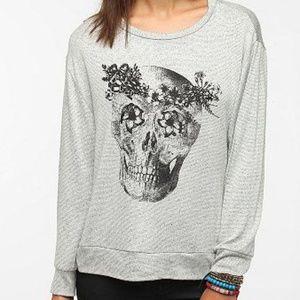 Urban Outfitters Gray Skull Flower Shirt